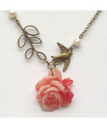 Antiqued Brass Branch Bird Flower Pearl Necklac... - $13.99