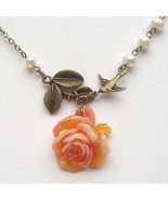 Antiqued Brass Leaf Bird Flower Pearl Necklace ... - $13.99