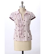 Anthropologie Rhythmic blouse in Lilac cotton, purple polka dots, size 14, BNWT