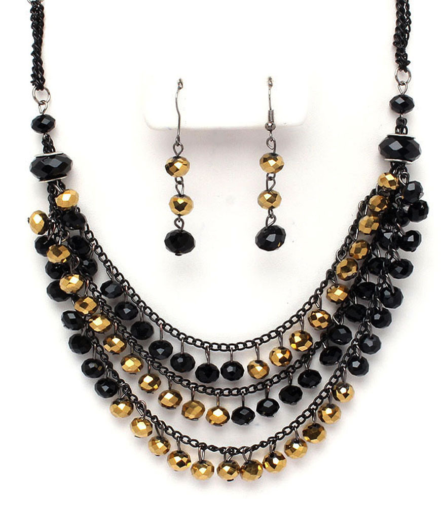 Gold Metallic & Black Crystal Necklace Set New Costume Jewelry Accessory