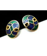 Vintage Florenza Earrings Blue Green Enamel Cli... - $29.65
