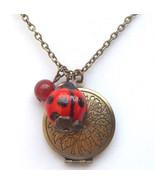 Antiqued Brass Honey Jade Porcelain Ladybug Loc... - $13.99