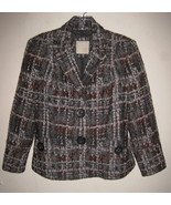 Magaschoni Textured plaid blazer 8 Wool blend G... - $44.99