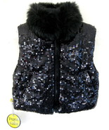 NWT Girls Black puffer vest Sequins XS Faux fur... - $39.99