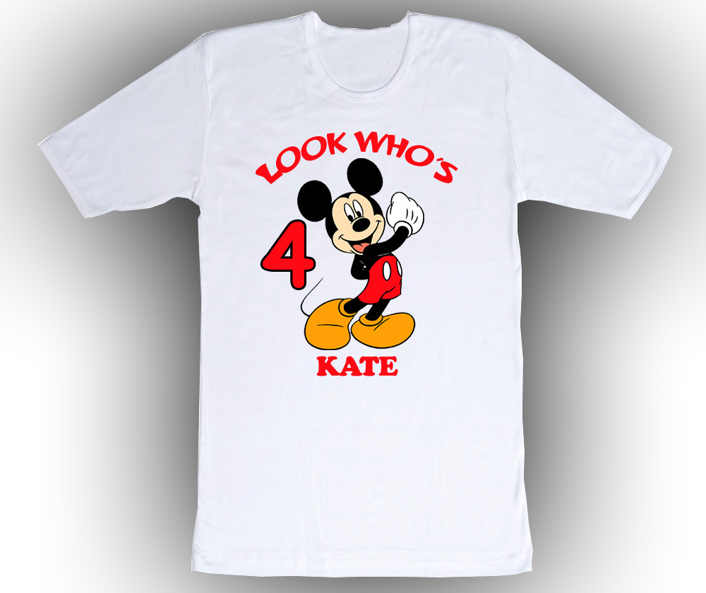 mickey mouse personalized white birthday shirt t shirts. Black Bedroom Furniture Sets. Home Design Ideas
