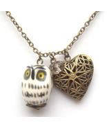 Antiqued Brass Crystal Porcelain Owl Locket Nec... - $13.99