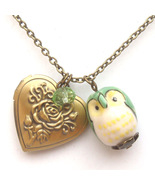 Antiqued Brass Crystal Porcelain Owl Locket Nec... - $13.99