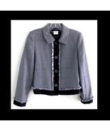 Black and white houndstooth blazer Wool 4P Frin... - $39.99