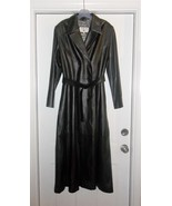 Crombie Black 100% Leather Long Trench Coat Siz... - $499.99