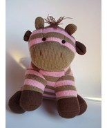 Pink Brown Striped Giraffe Plush Stuffed Animal Knitted Sock Monkey Style Toy - $21.97