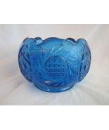 Blue Fenton Glass Rose Bowl Flower Vase Hobstar... - $35.00