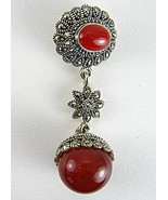 Red Onyx Cabochons in Sterling Silver Pendant A... - $95.04