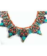 Turquoise with Red Coral and Lapis Collar Neckl... - $189.12