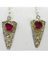Hand Faceted Circles of Natural Red Rubies Gold... - $73.92