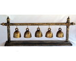 Buy Decorative Plant Stands - Lovely 5x Aged Thai Temple Bells on Teakwood Stand