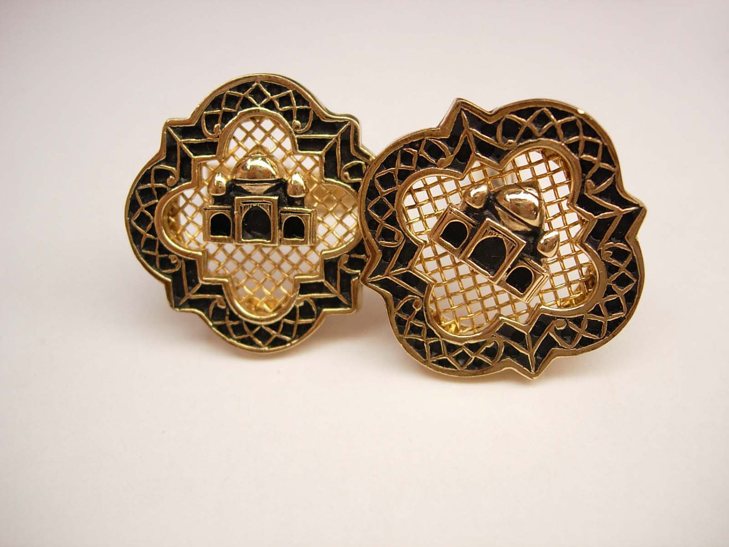 Vintage taj mahal cufflinks enamel swank wedding business for What is swank jewelry