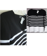New V-neck knit top Black White L $130 Striped ... - $39.99