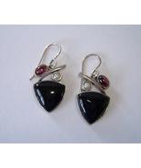 Black Onyx Amethyst Pearl Cluster Earrings Ster... - $77.00