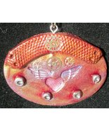 Polymer Clay Steampunk Oval Pendant, Hearts wit... - $20.00