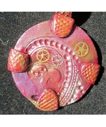 Polymer Clay Copper Steampunk Pendant with watc... - $20.00