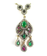 Ornate Faceted Emerald + Ruby with Topaz Sterli... - $198.72