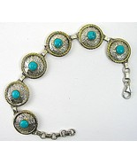 Tooled Sterling Silver Links with Turquoise cen... - $166.08