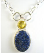 Natural Oval Dark Blue Lapis Lazuli with Citrin... - $75.10
