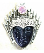 Hand Carved Goddess of Amethyst with Pink Topaz... - $83.52