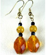 Swarovski Crystal with Faceted Amber Glass Dang... - $51.87