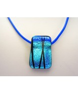 Metallic Blue Dichroic Glass Pendant with Leath... - $41.03