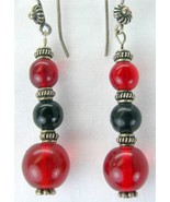 Ruby Red Art Glass with Onyx and Bali Beads Ste... - $39.48