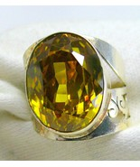 Large faceted Oval of Golden Citrine Sterling S... - $102.97