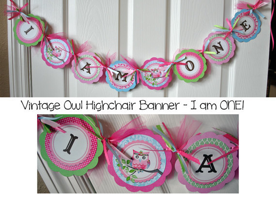 Vintage Owl 1st Birthday Highchair Banner (I AM ONE)