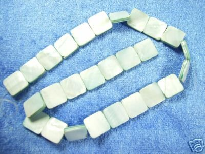 1str,16x16mm Flat Square Mother of Pearl Bead,Sky Blue