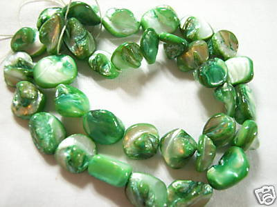 "13"" Dyed Mother of Pearl Nugget/Rock Bead,Deep Green"