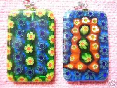 (2)35x24mm Triangle Millefiori Lampwork Glass Pendant
