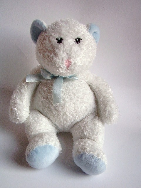 Animal Alley Baby Teddy Bear White Blue Sewn Eyes Plush Stuffed Animal Lovey