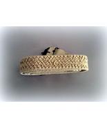 Ladies Beige Woven Belt Silver Plate Trim Size 48  - $5.00