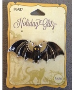 Large Halloween Enamel Black Bat wiht Gems Neck... - $9.99