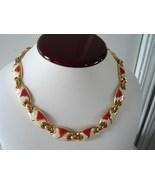 Vintage Red/White Cloisonne Enamel Necklace - $25.00