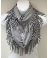 Infinity Scarf  Circle Scarf Gray With Fringe  Wrap   Belt SAC518