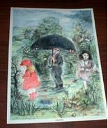 Vintage Children Print Springtime Umbrella Art ... - $10.00