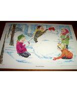 Vintage Children's Print Fun With Snow Warner 1962 - $10.00