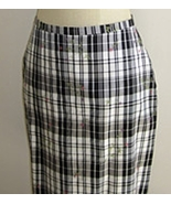 Black and White Plaid Silk Skirt with Flower Em... - $19.99