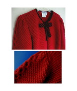 Red sweater jacket Plaid trim Wool L Cable Hong... - $47.99