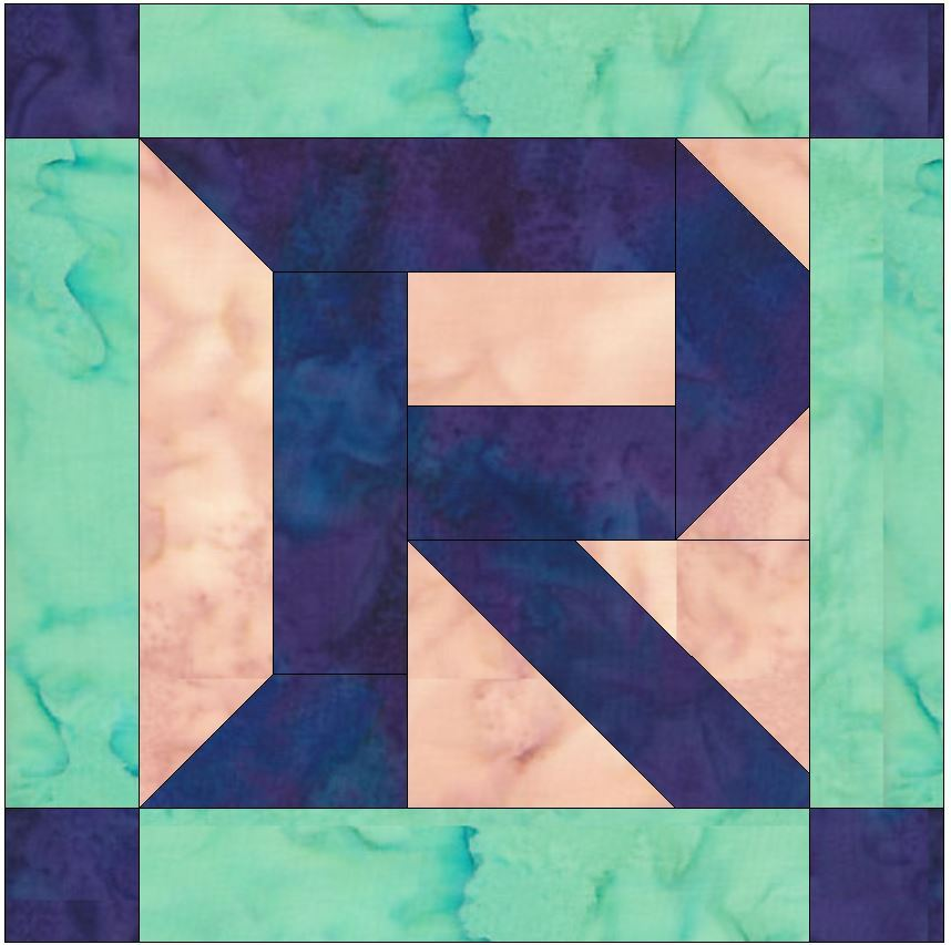 Foundation Pieced Letter R Paper Piece Quilting Block