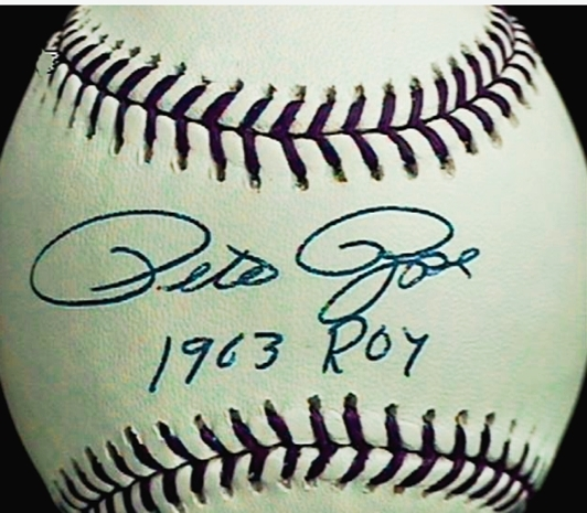 PETE ROSE HAND SIGNED AUTOGRAPHED & INSCRIBED BASEBALL  & ONLINE AUTHENTICS COA