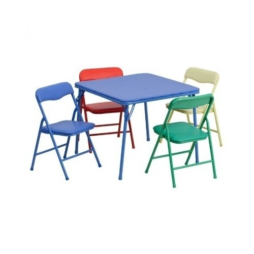 KIDS FOLDING TABLE And Chair Set 5 Piece Colorful