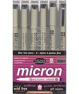 Micron Fine Line Pens Set of 6 Black Pens (Asso... - $10.95