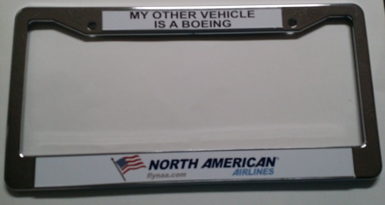 North American Airlines License Plate Frame Silver